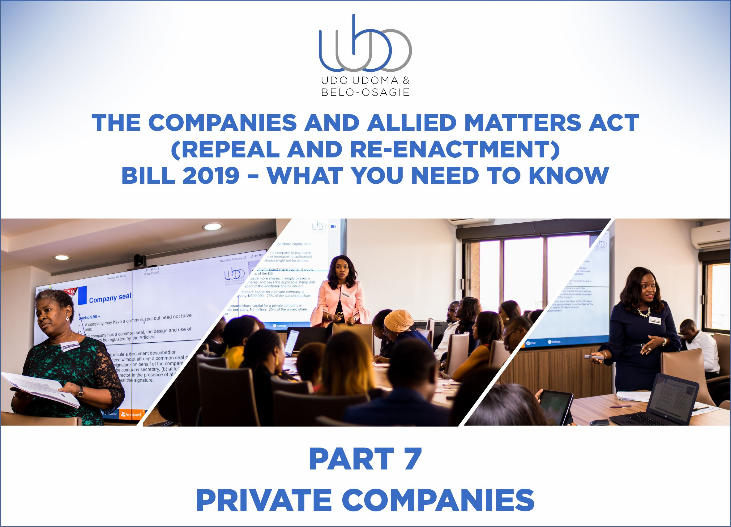 THE COMPANIES AND ALLIED MATTERS (REPEAL AND RE-ENACTMENT BILL) 2018 - PART 7