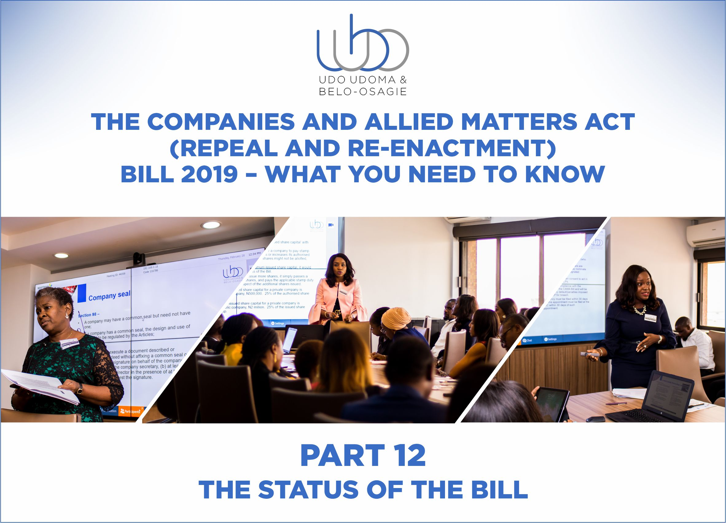 THE COMPANIES AND ALLIED MATTERS (REPEAL AND RE-ENACTMENT BILL) 2018 – PART 12