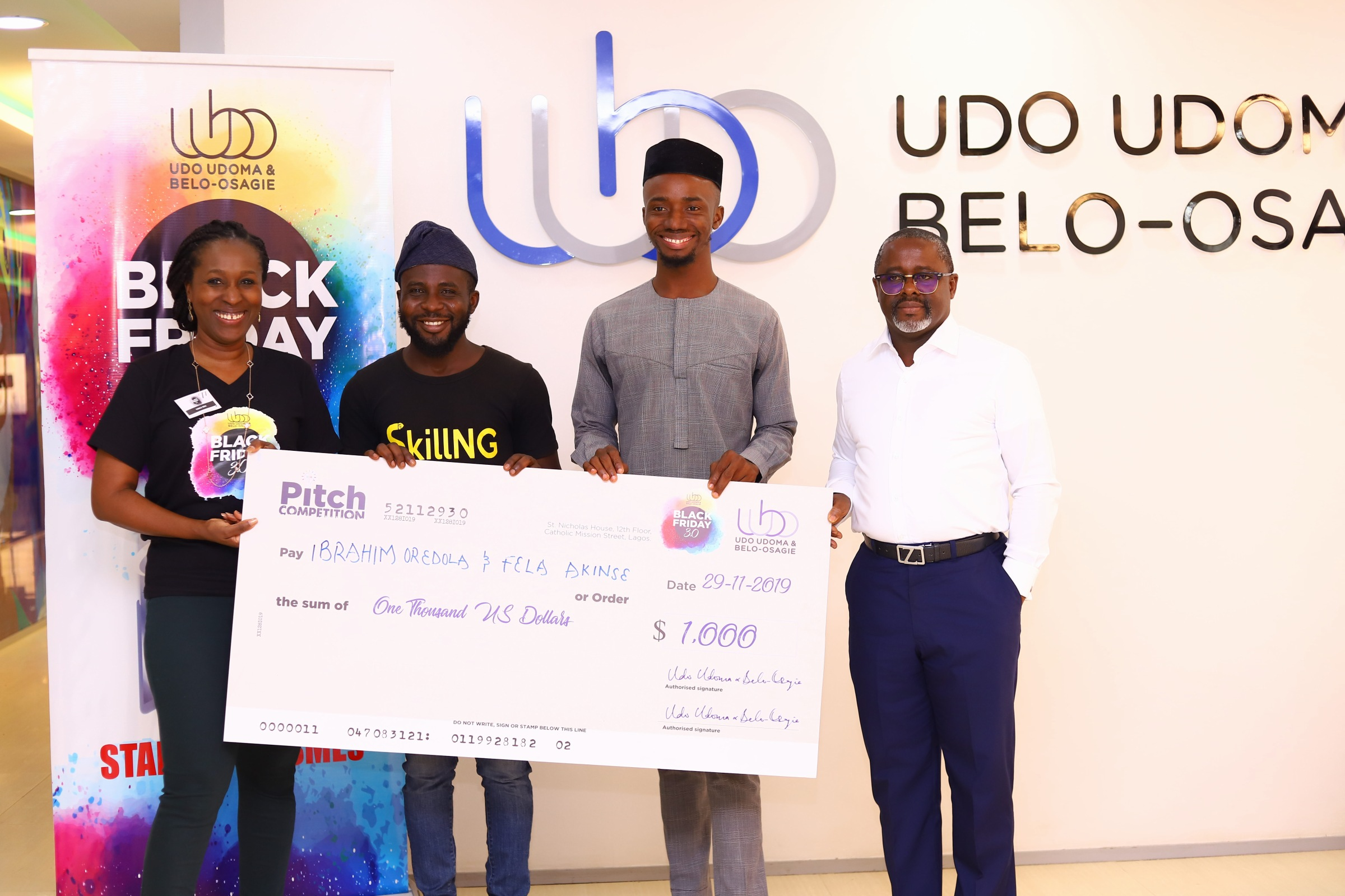 UDO UDOMA & BELO-OSAGIE HOSTS INAUGURAL BLACK FRIDAY PITCH FOR SMEs  …tech innovator wins big in UUBO Black Friday Pitch Competition