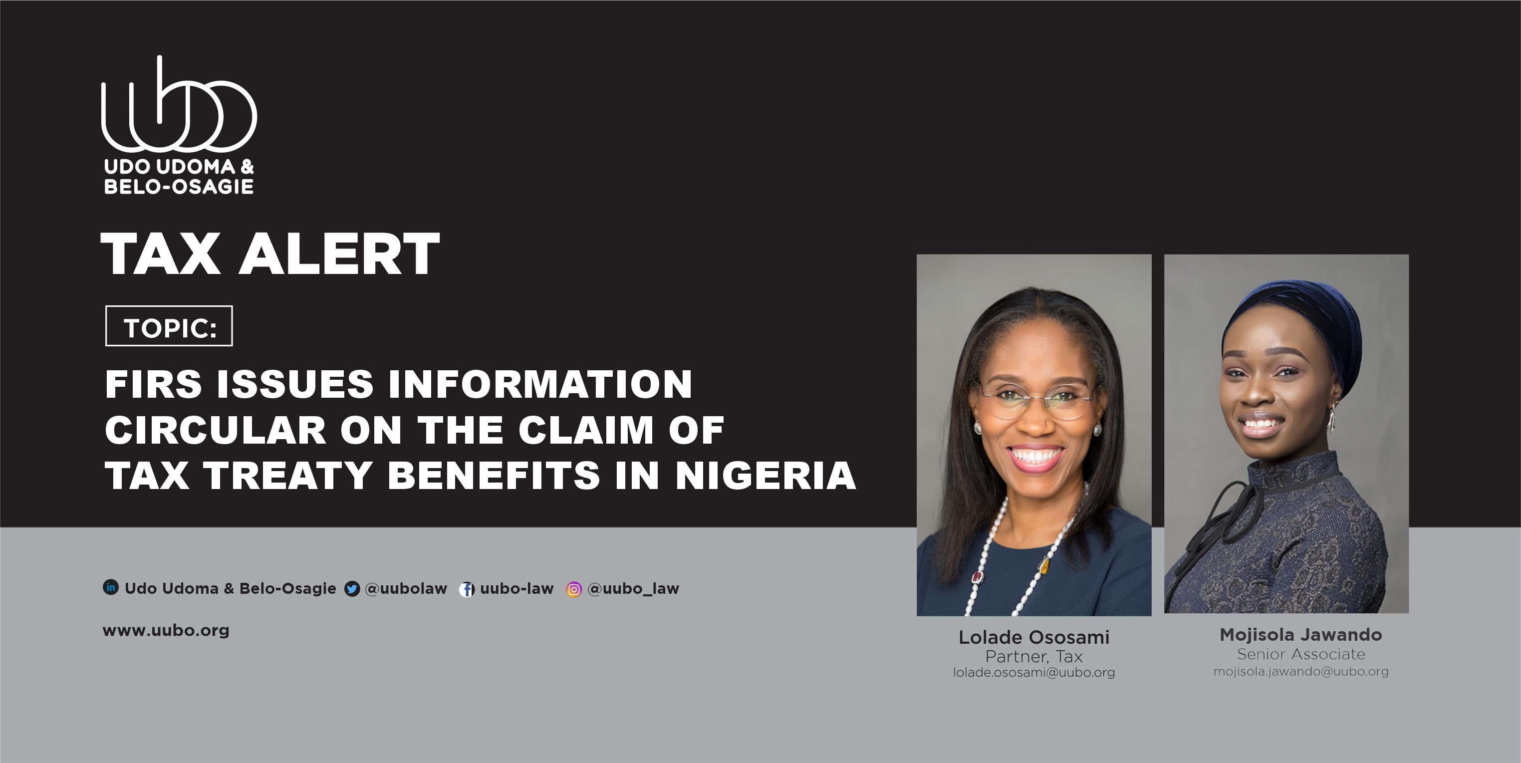 FIRS ISSUES INFORMATION CIRCULAR ON THE CLAIM OF TAX TREATY BENEFITS   IN NIGERIA