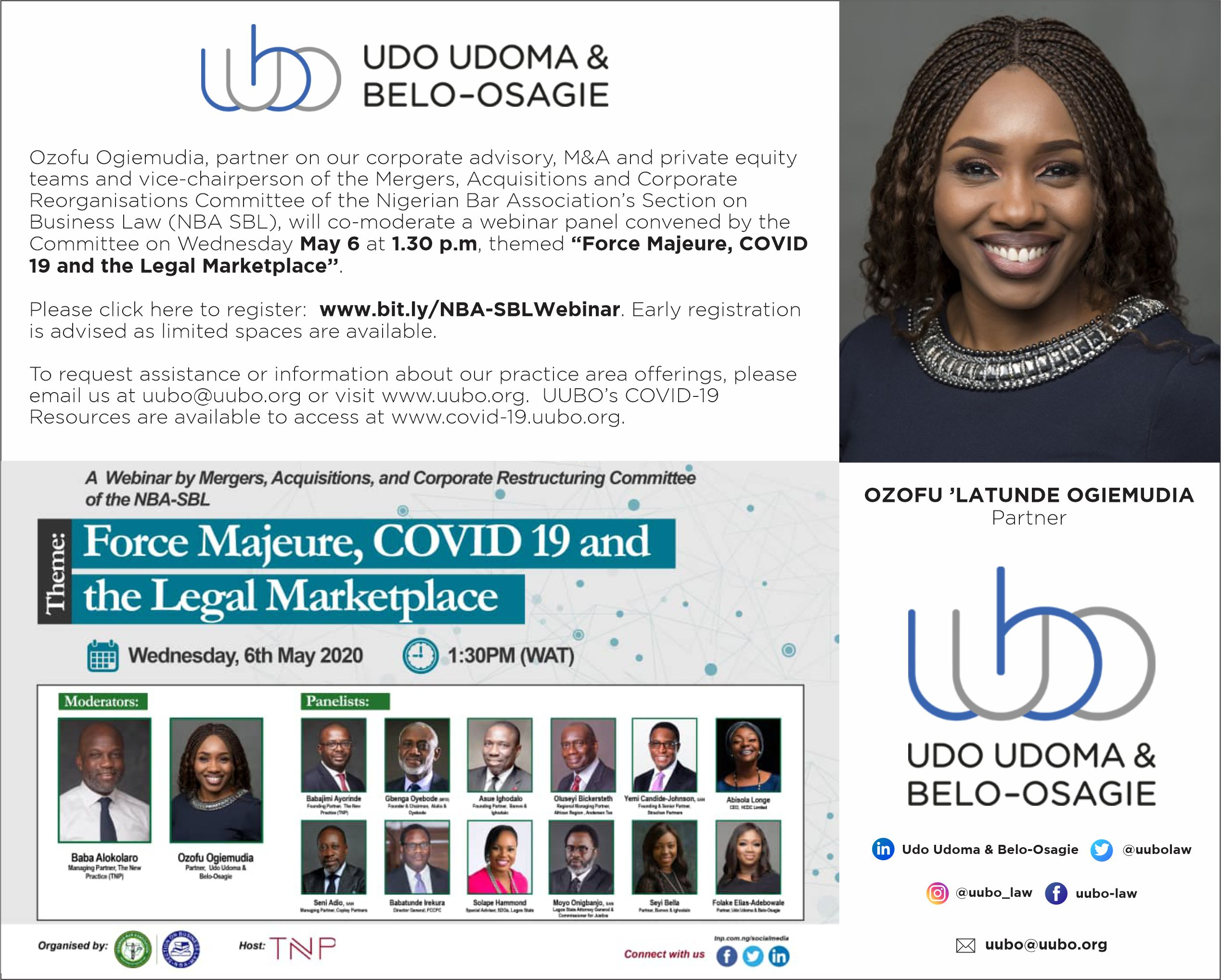 WEBINAR: FORCE MAJEURE, COVID 19 AND THE LEGAL MARKETPLACE