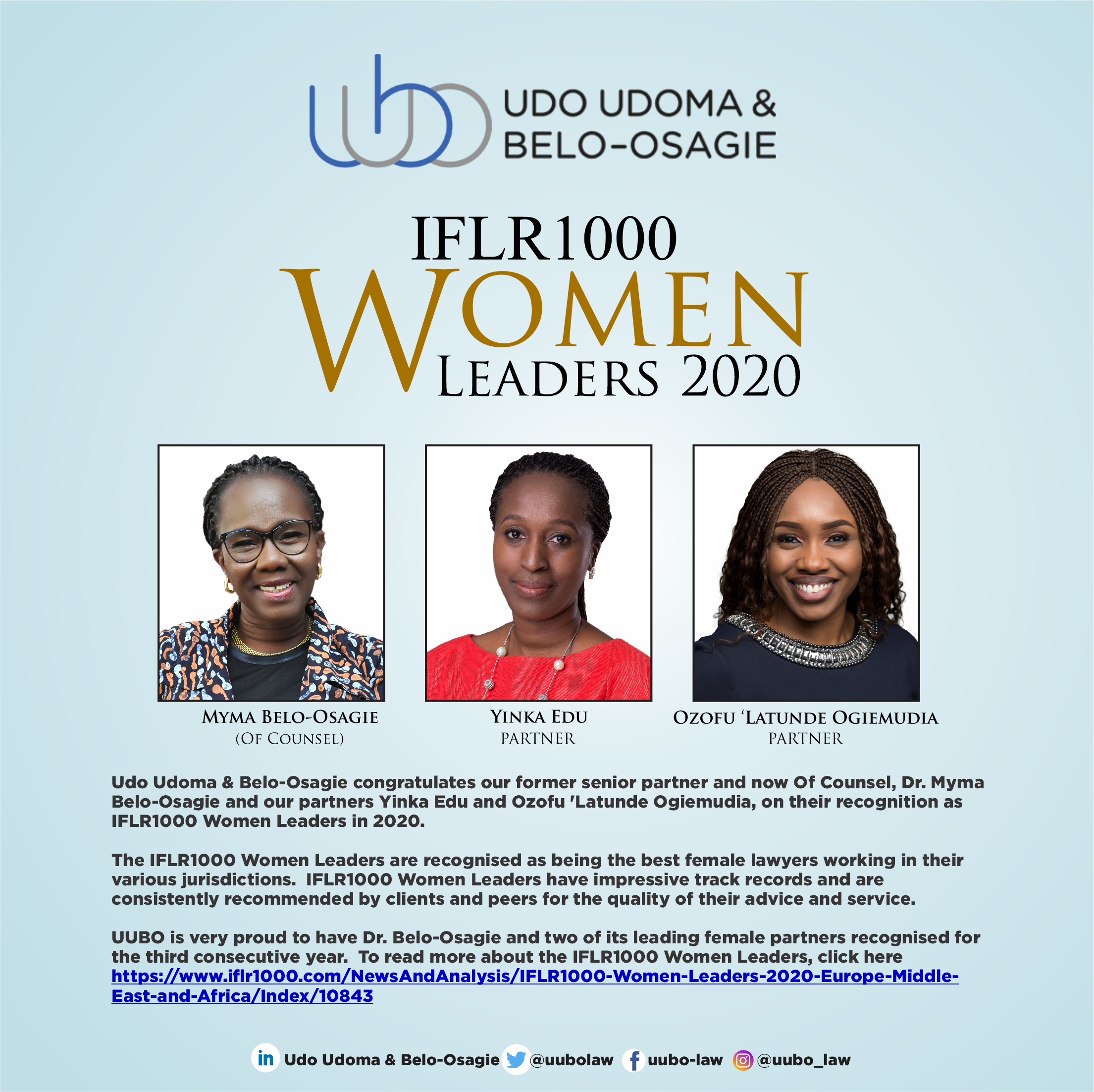 UUBO IFLR1000 Women Leaders 2020
