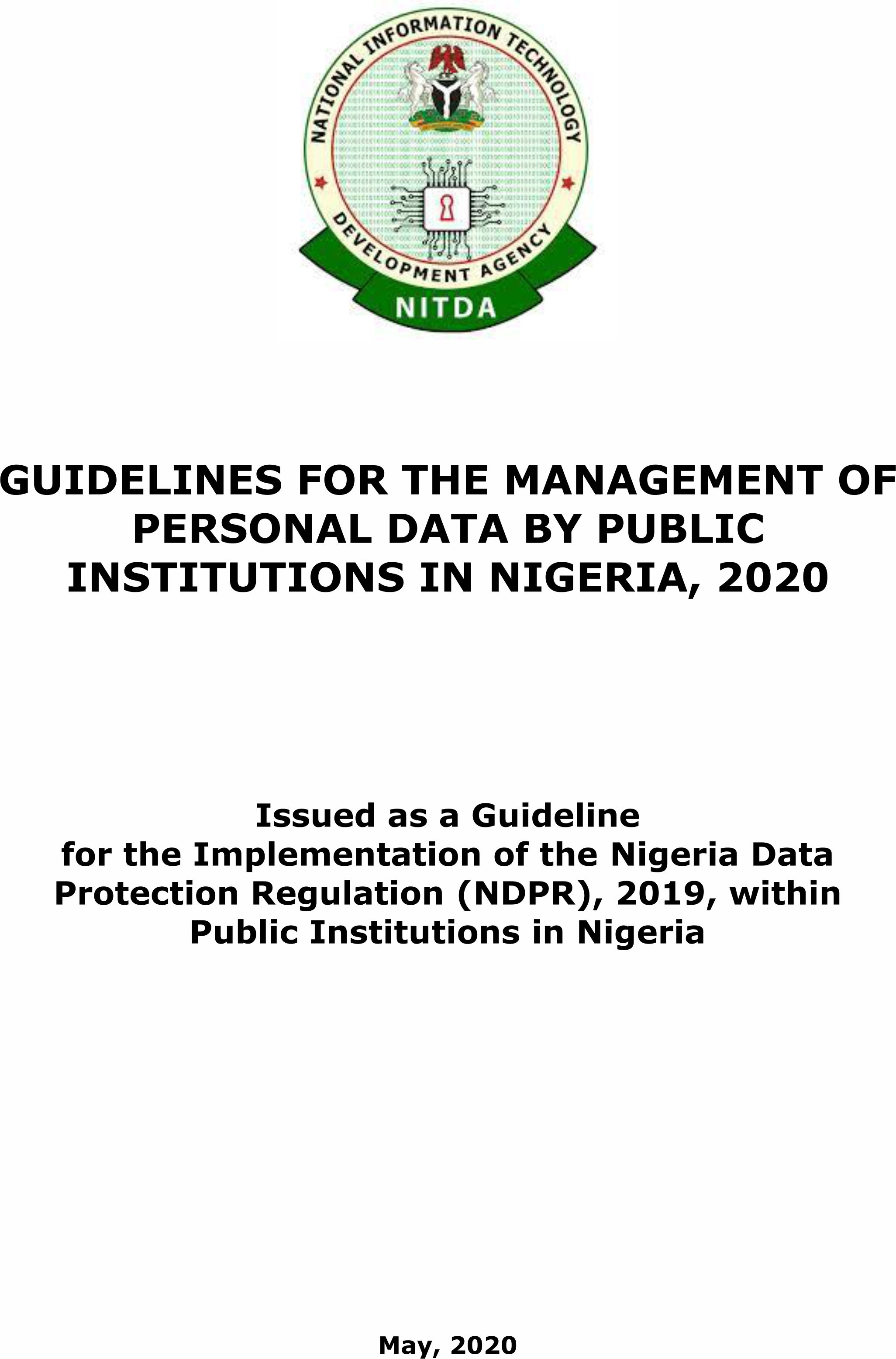 Guidelines for the Management of Personal Data by Public Institutions in Nigeria, 2020