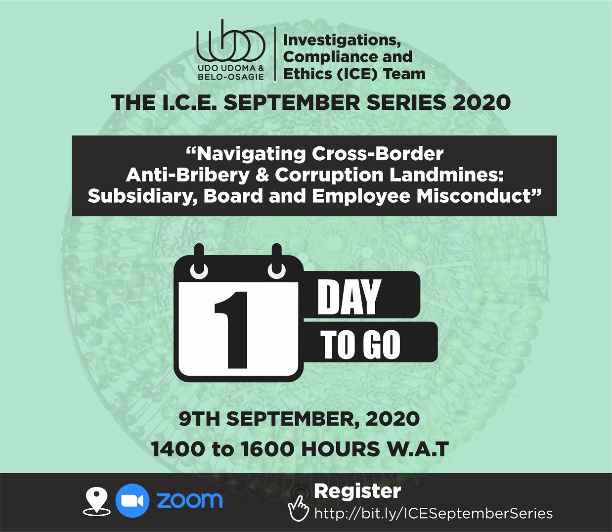 The countdown is on! Join us tomorrow at the Udo Udoma & Belo-Osagie ICE September Series