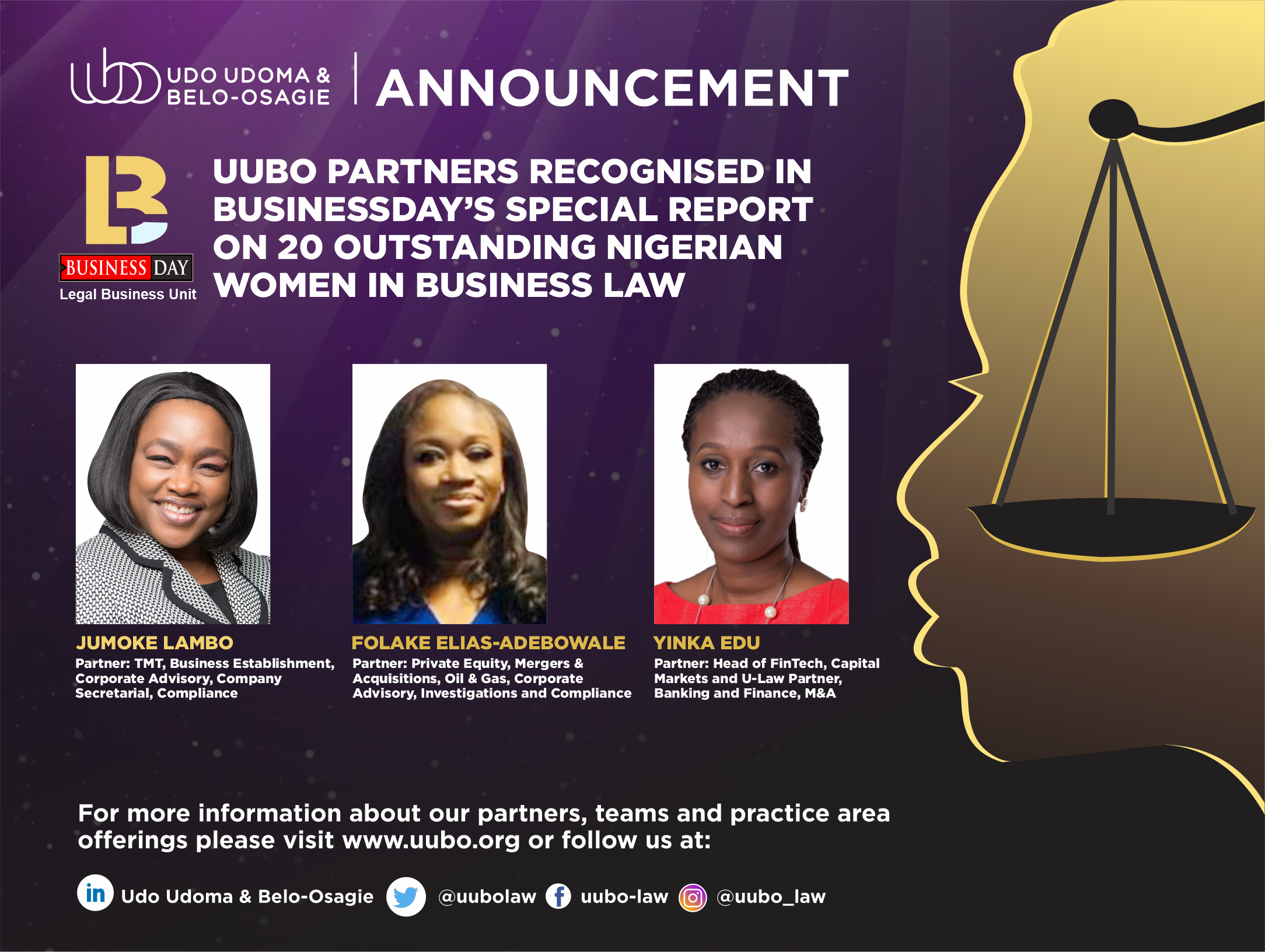 Top 20 Outstanding Wome In Business Law KOL, FEA And YE